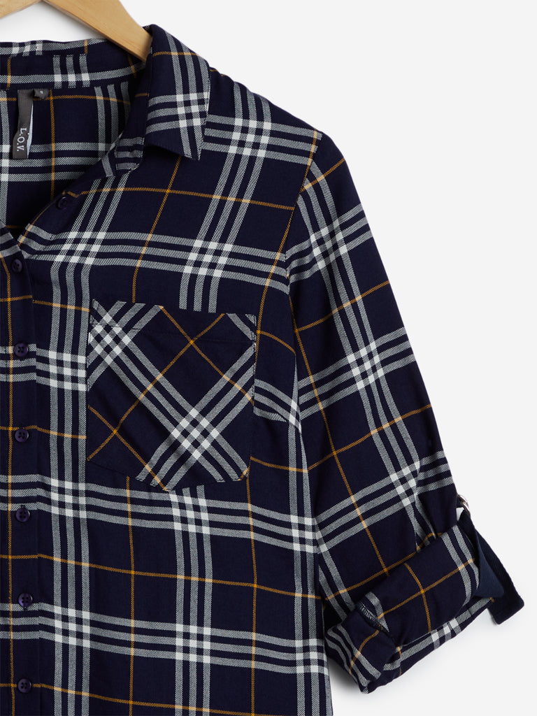 LOV Multicoloured Checked High-Low Casual Shirt