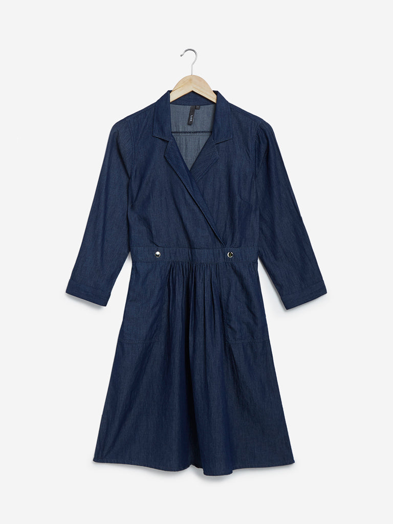 LOV Dark Blue Pure Cotton Shirtdress
