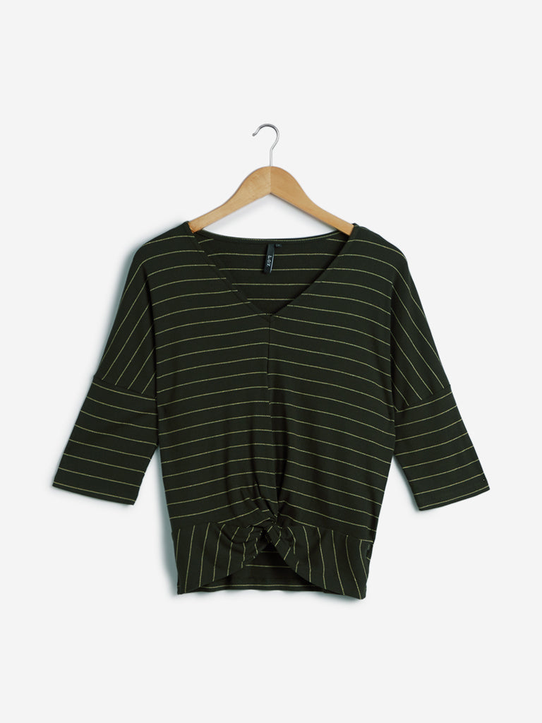 LOV Olive Striped Knitted Top