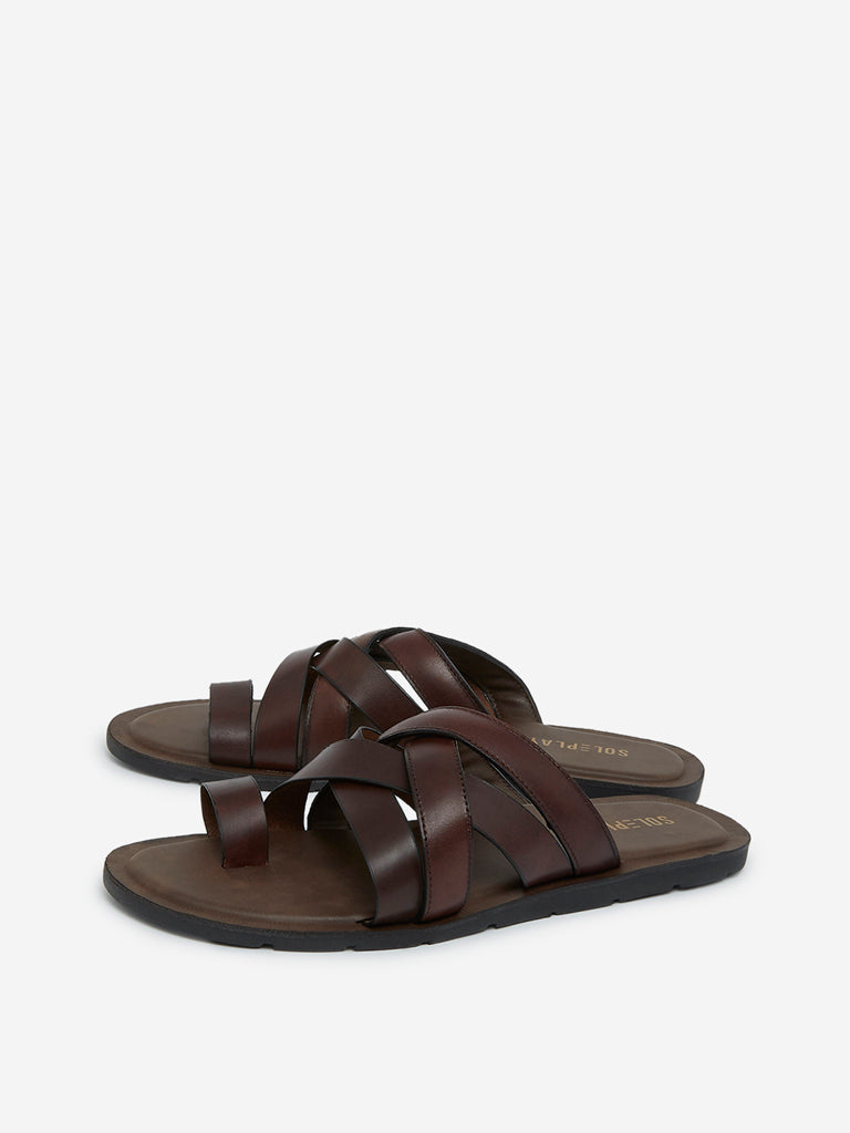 SOLEPLAY Dark Brown Strapped Sandals