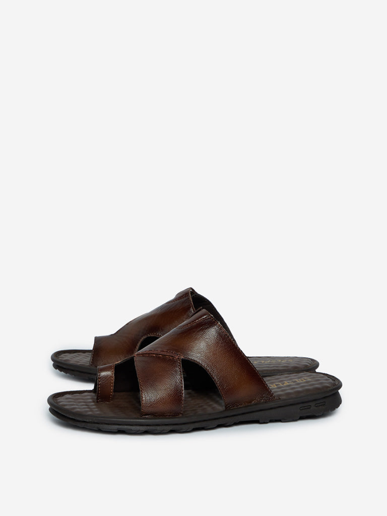 SOLEPLAY Dark Brown Faux-Leather Sandals