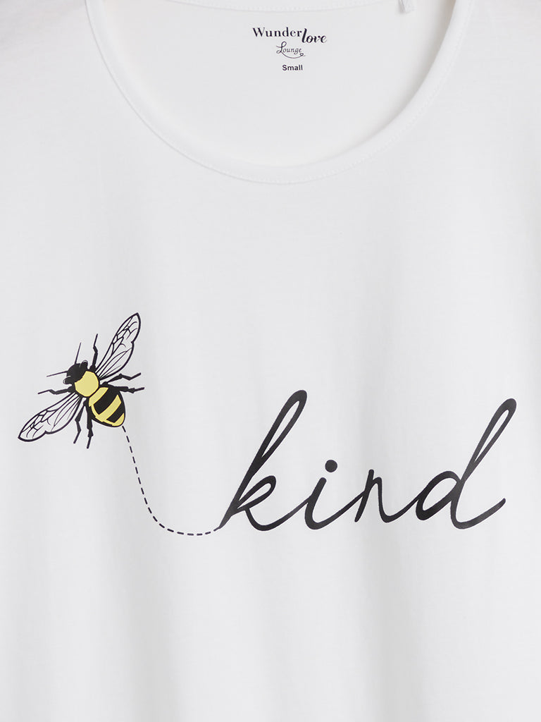Wunderlove White Text Print T-Shirt