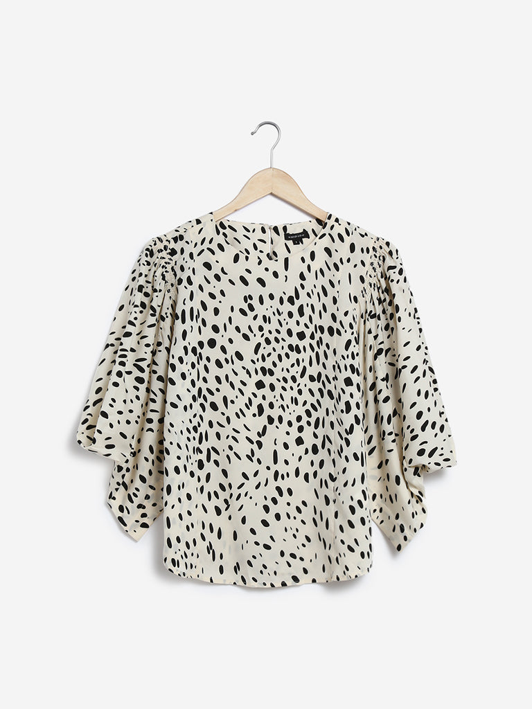 Wardrobe Ecru Animal Print Gilda Top