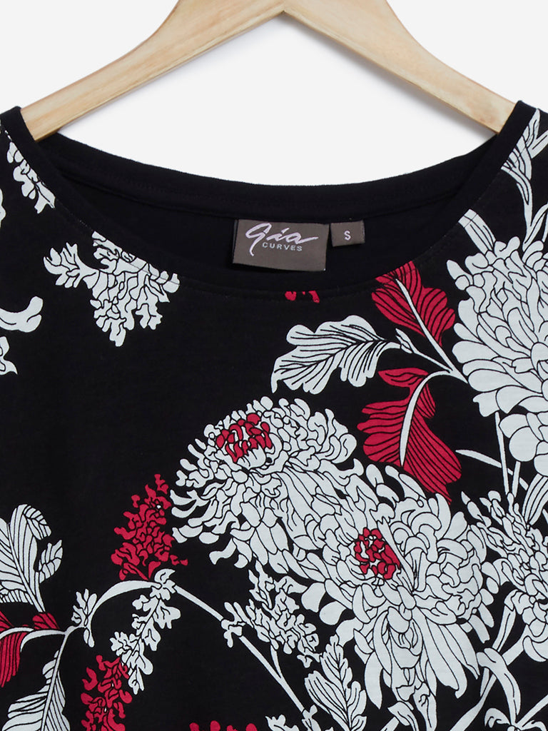 Gia Curves Black Floral Print Top