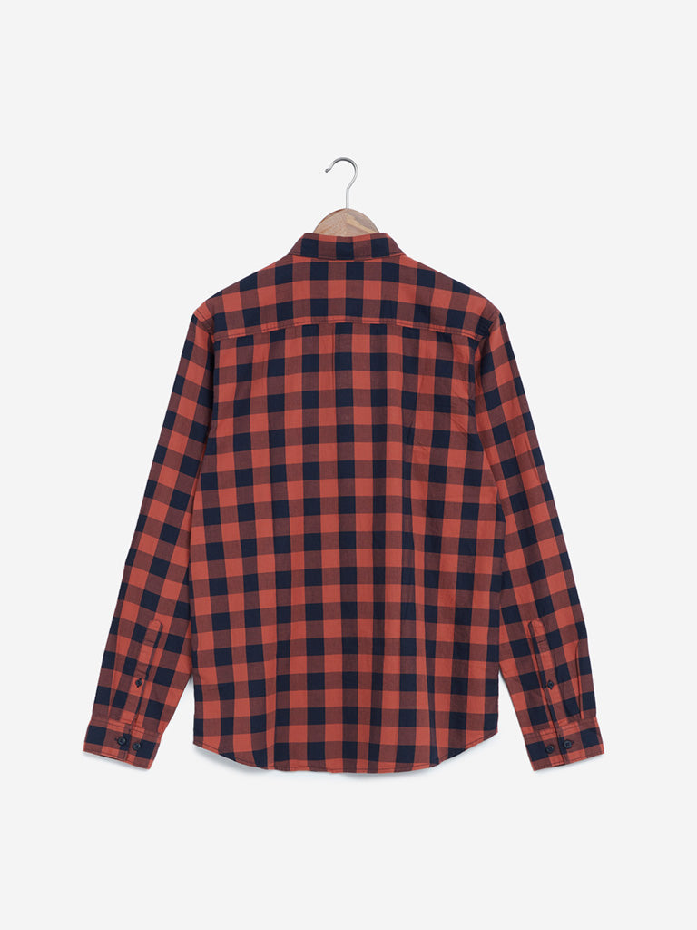WES Casuals Rust Checked Slim Fit Shirt