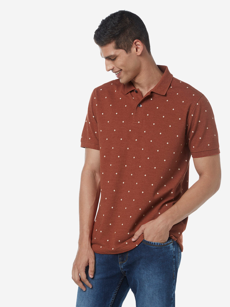 WES Casuals Rust Slim Fit Dotted Polo T-Shirt