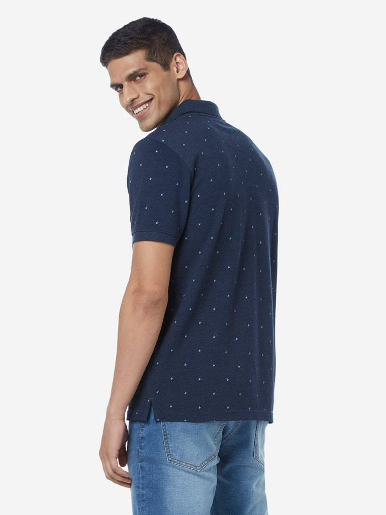 WES Casuals Navy Slim Fit Dotted Polo T-Shirt