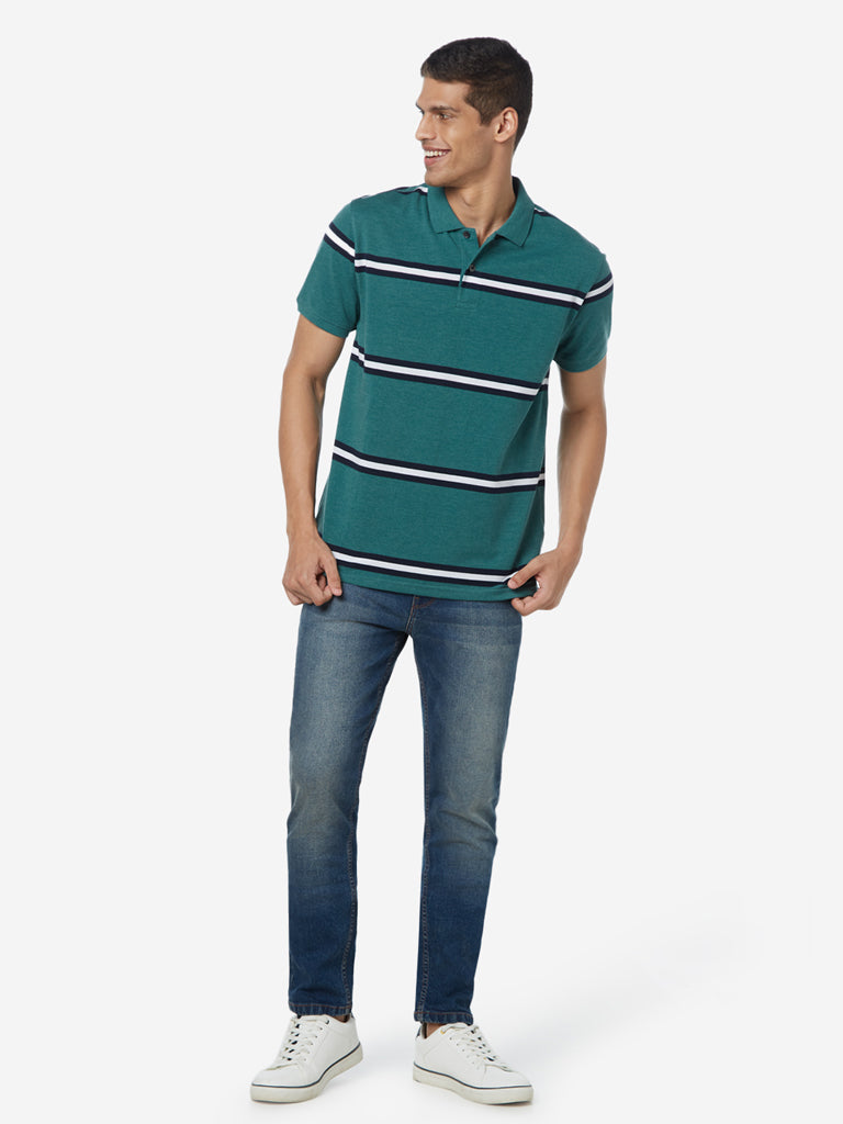 WES Casuals Green Striped Polo Slim Fit T-Shirt