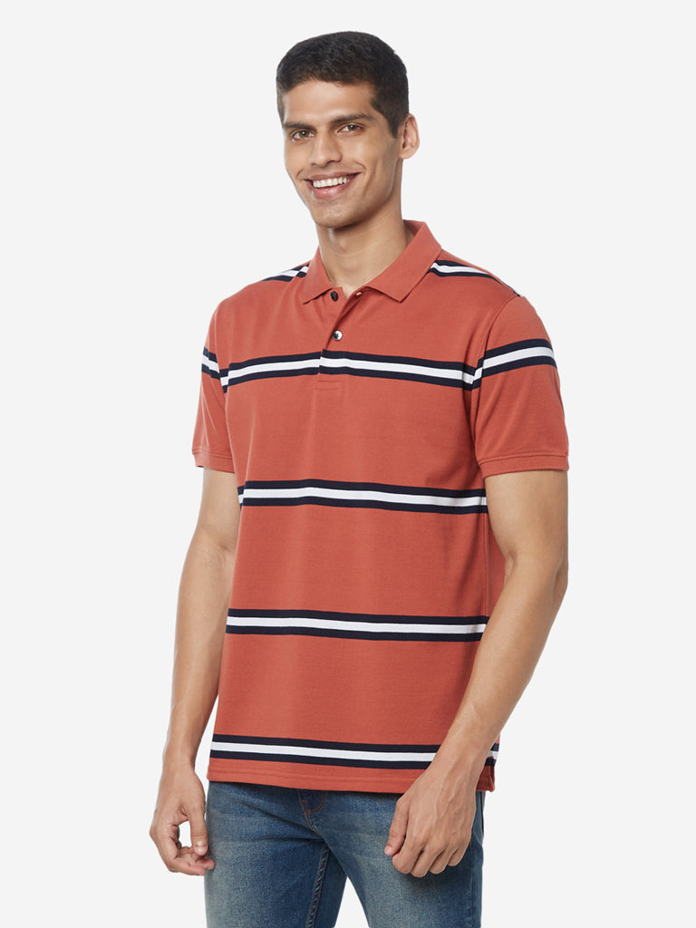 WES Casuals Rust Striped Polo Slim Fit T-Shirt