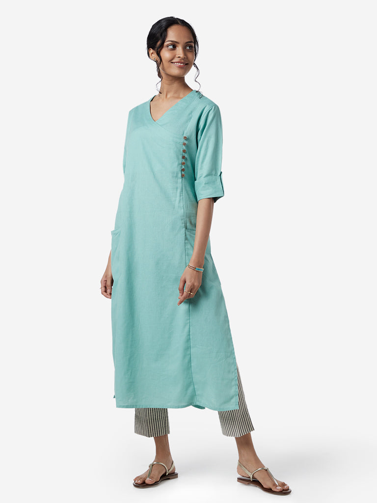 Utsa Light Turquoise Cotton Linen A-Line Kurta