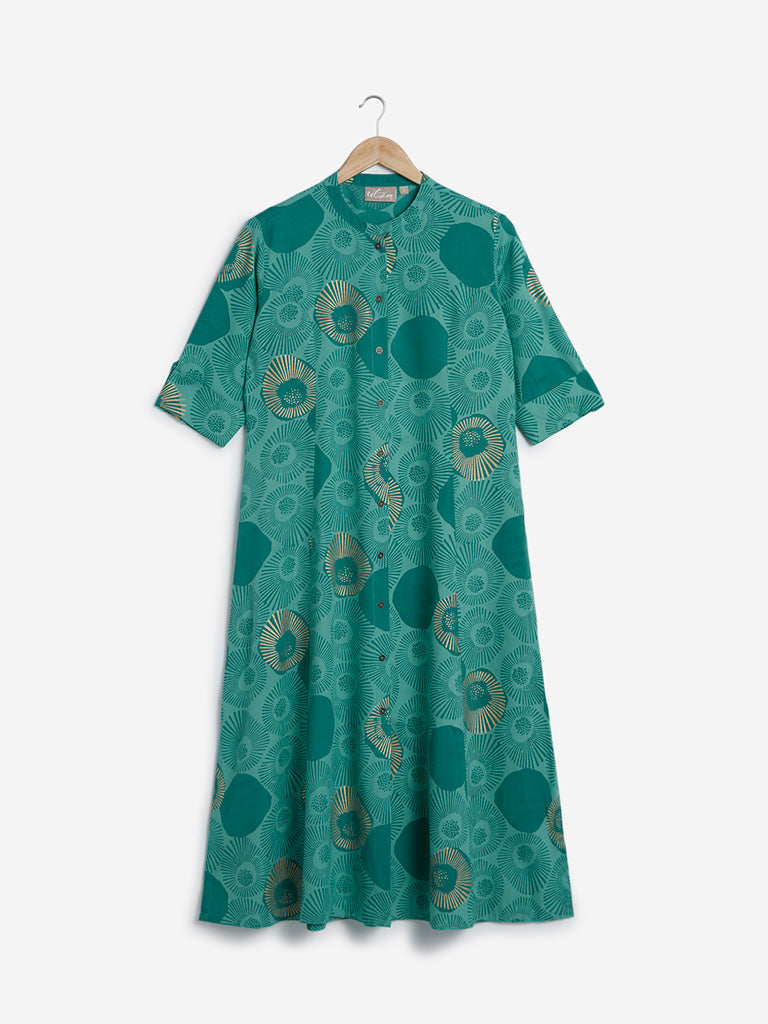 Utsa Green Circular Print Fit-And-Flare Kurta
