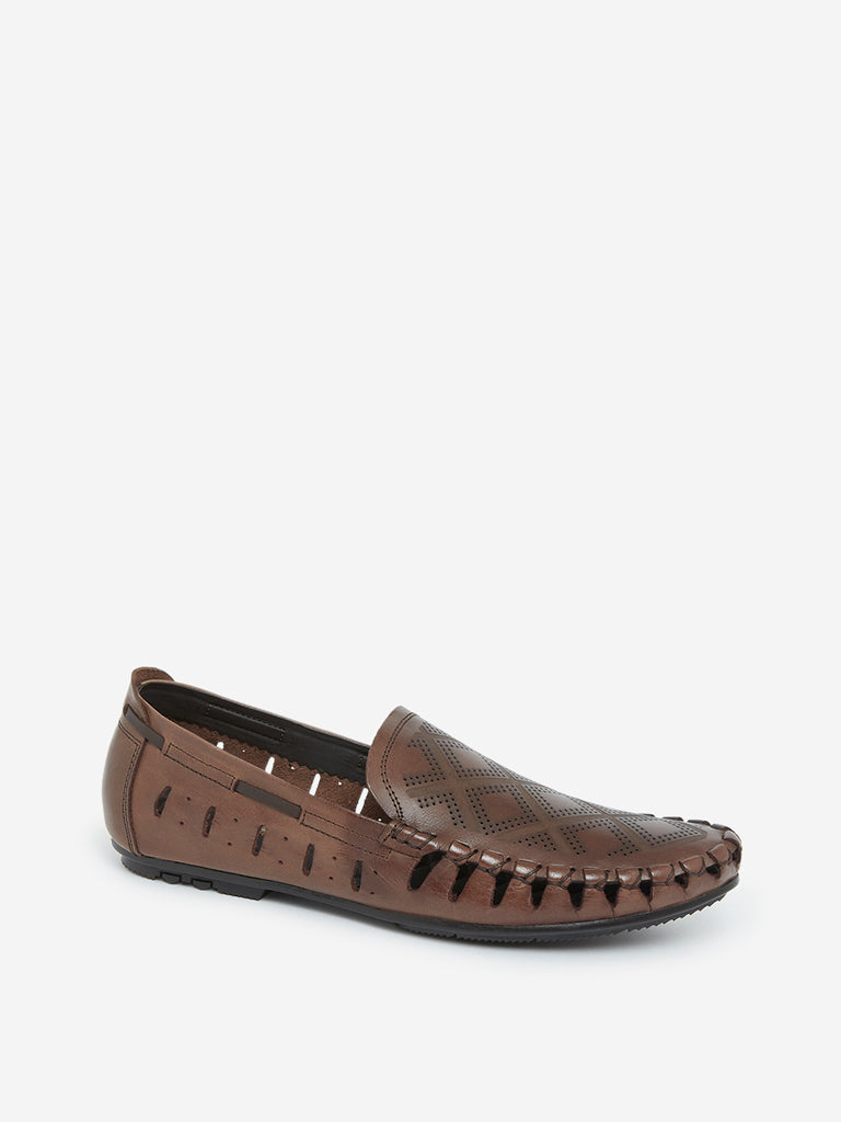 SOLEPLAY Dark Brown Laser Cut Loafers