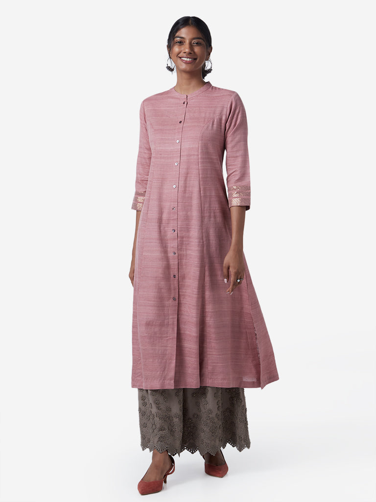 Zuba Dull Pink Self-Textured A-Line Kurta