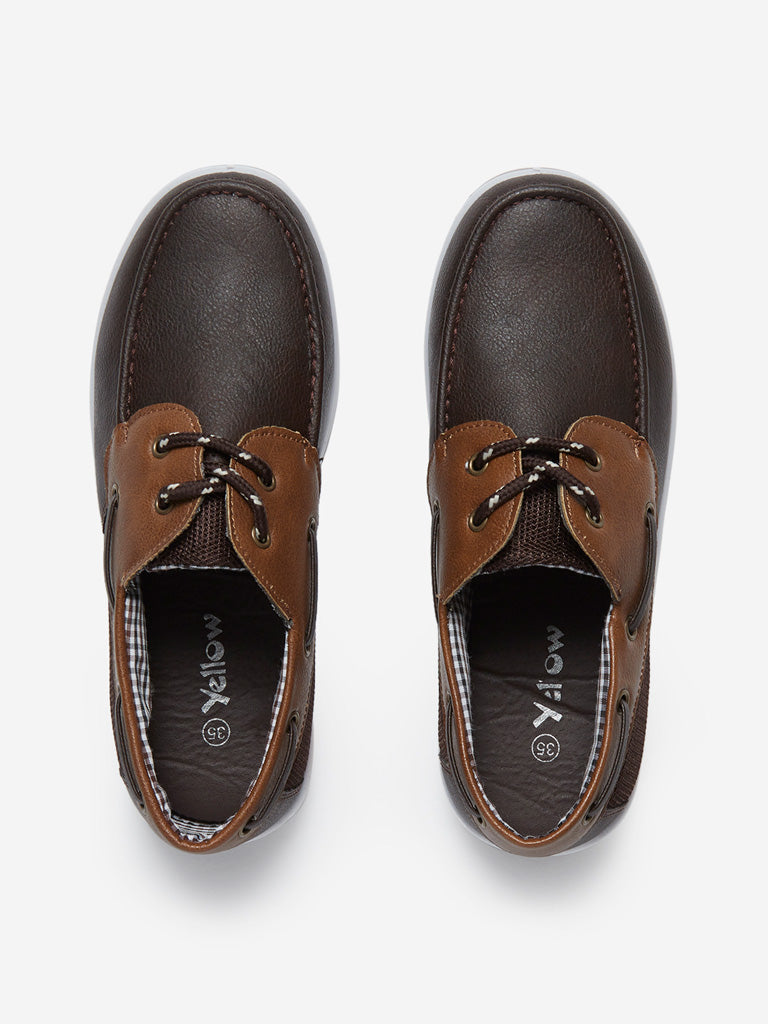 Yellow Kids Brown Boat Shoes