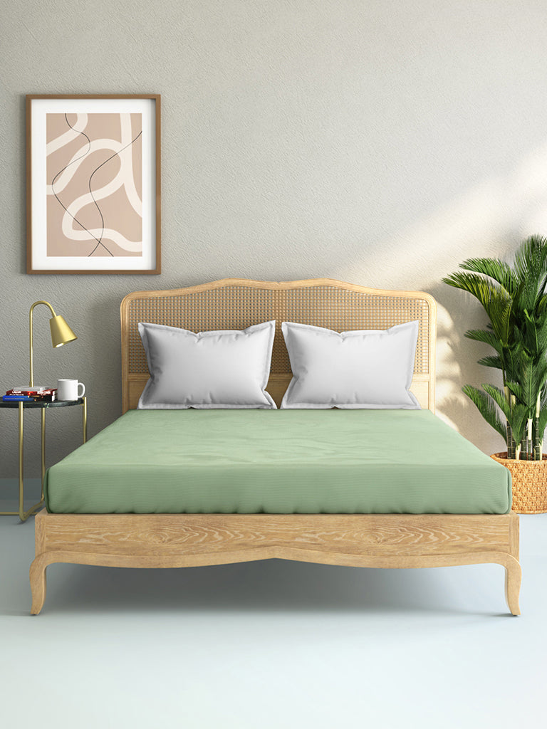 Westside Home Mint-Green 144TC Double Fitted Bedsheet