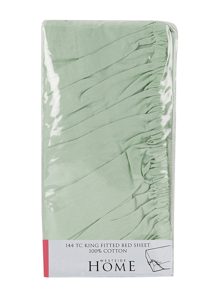 Westside Home Mint-Green 144TC King Fitted Bedsheet