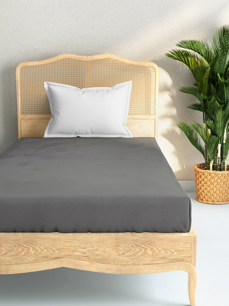 Westside Home Charcoal 144TC Single Fitted Bedsheet