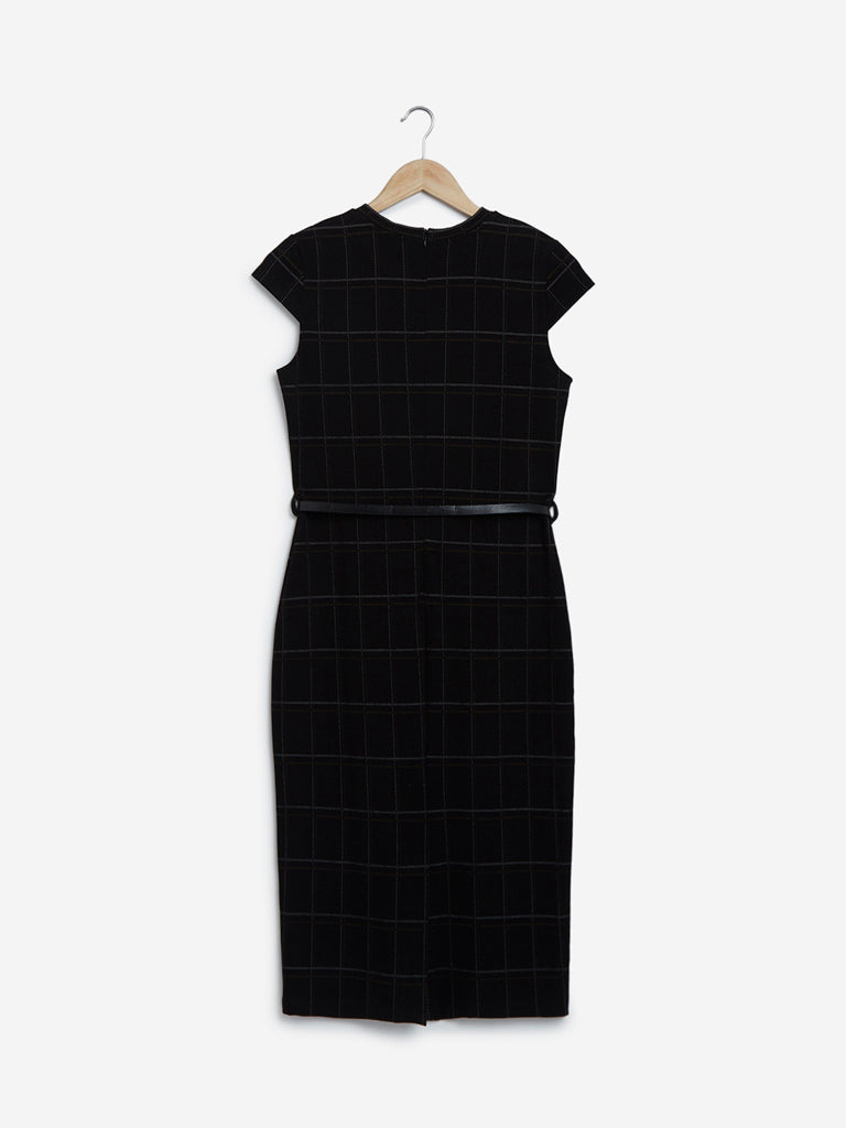 Wardrobe Black Checked Sam Dress With Belt