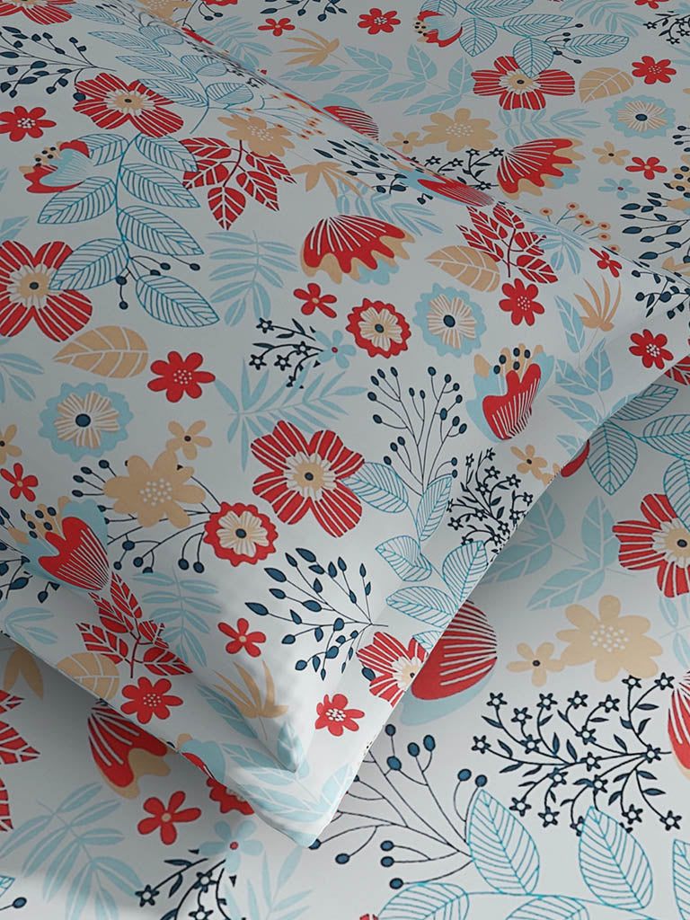 Westside Home Multicolour Flower Print 128TC King Bedsheet with Two Pillowcases