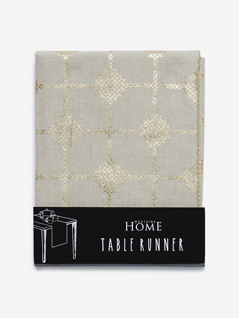 Westside Home Light Gold Embroidered Table Runner