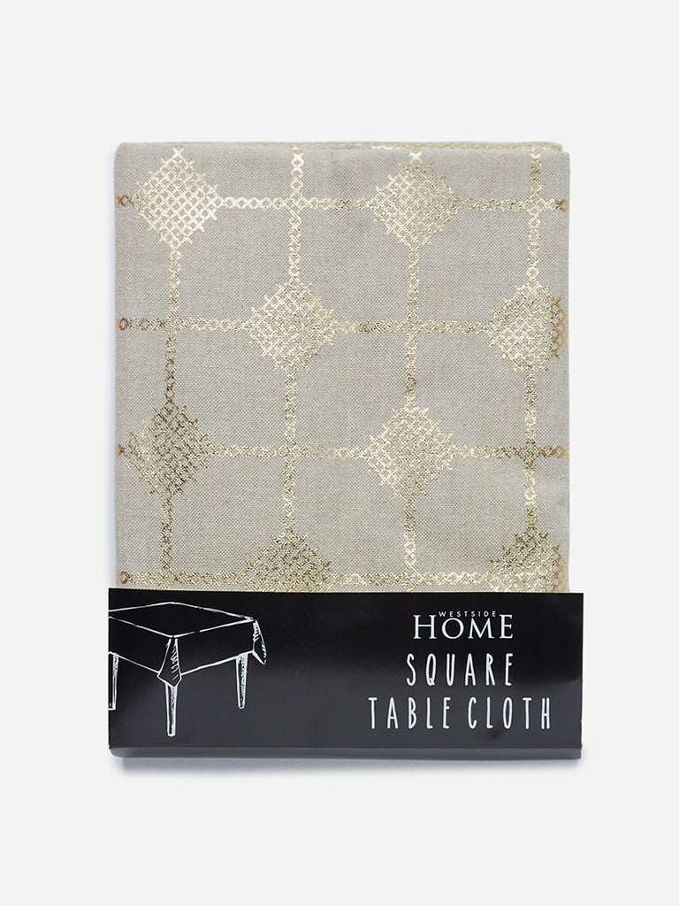 Westside Home Light Gold Embroidered Square Table Cloth