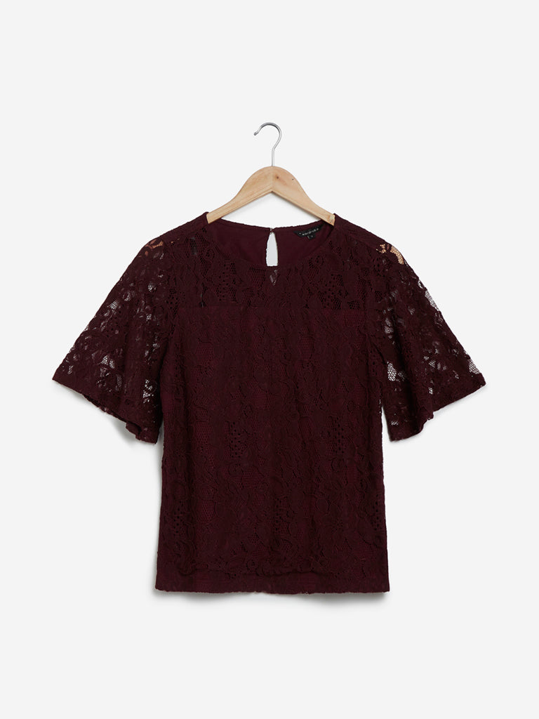 Wardrobe Wine Lace-Detailed Top