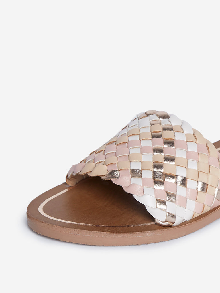 LUNA BLU Beige Weave Patterned Slides