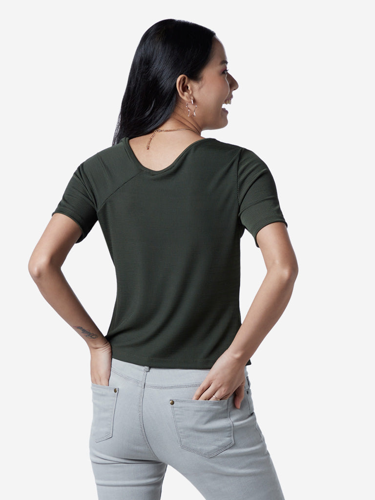Nuon Khaki Solid Finigan T-Shirt