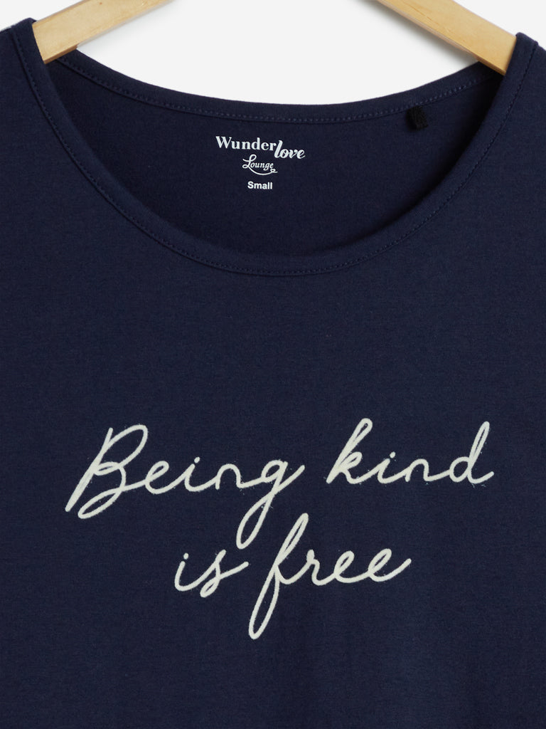 Wunderlove Black Text Print Cotton T-Shirt