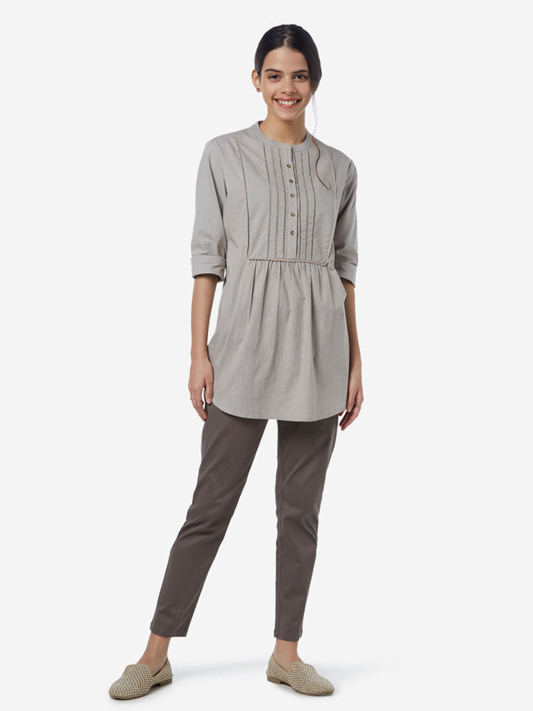 Utsa Grey Cut-Out Detailed Kurti