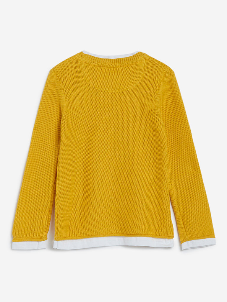 HOP Kids Mustard Knitted Pure-Cotton T-Shirt