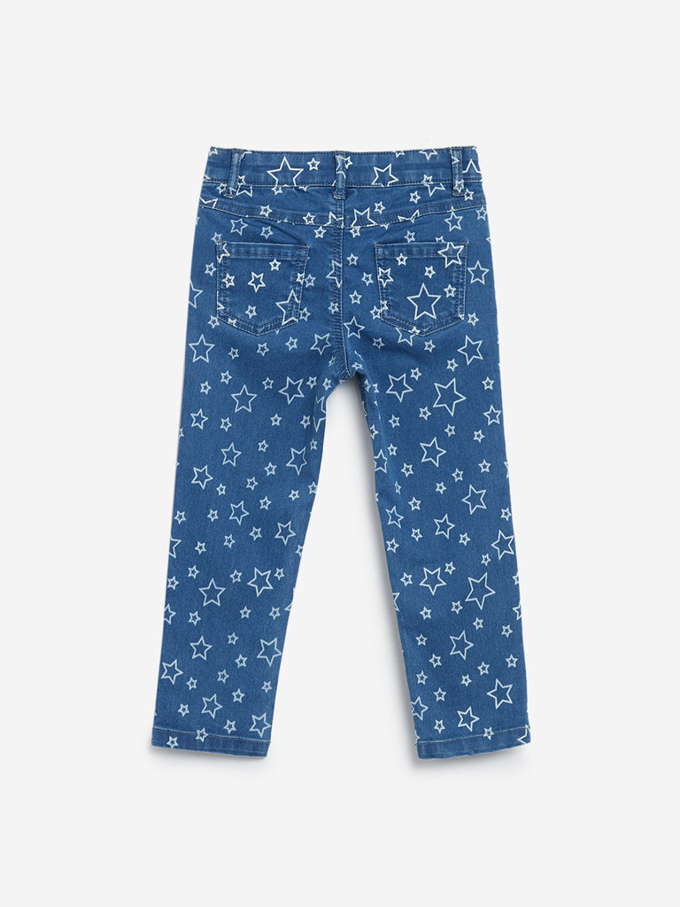 HOP Kids Light Blue Star Printed Jeans
