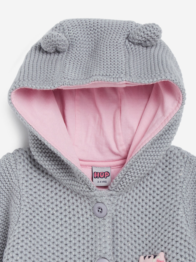 HOP Kids Grey Knitted Hooded Sweater
