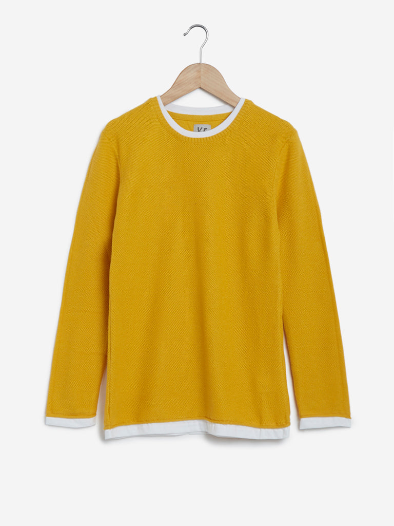 Y&F Kids Mustard Knitted Pure-Cotton T-Shirt