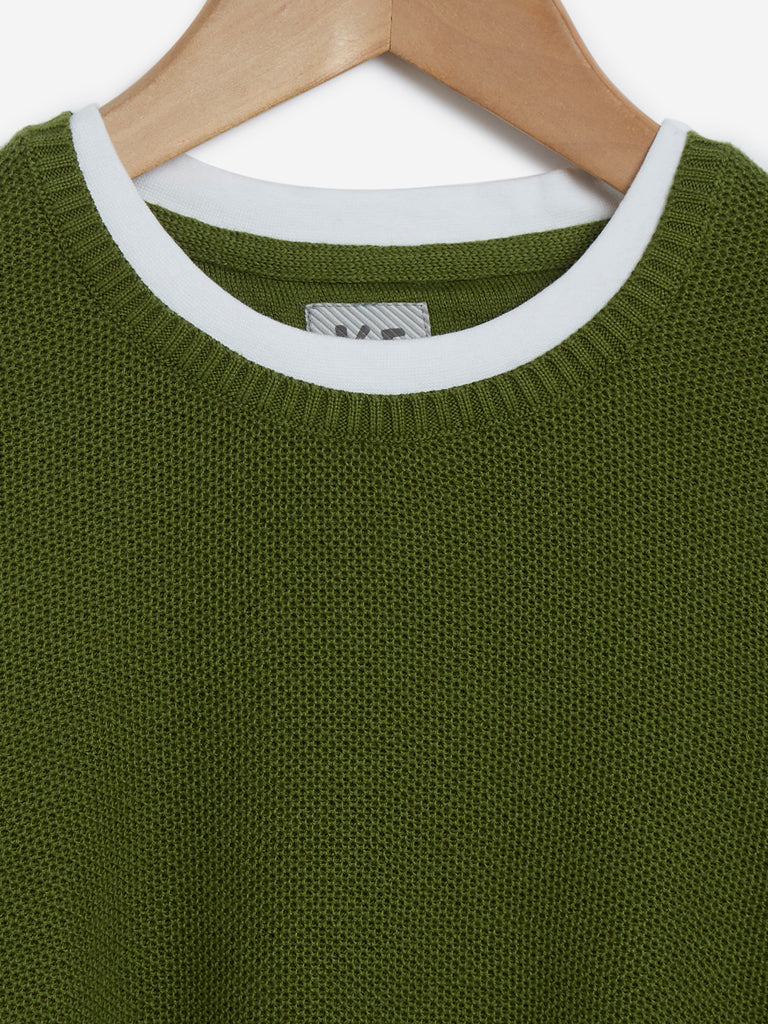 Y&F Kids Olive Knitted Pure-Cotton T-Shirt