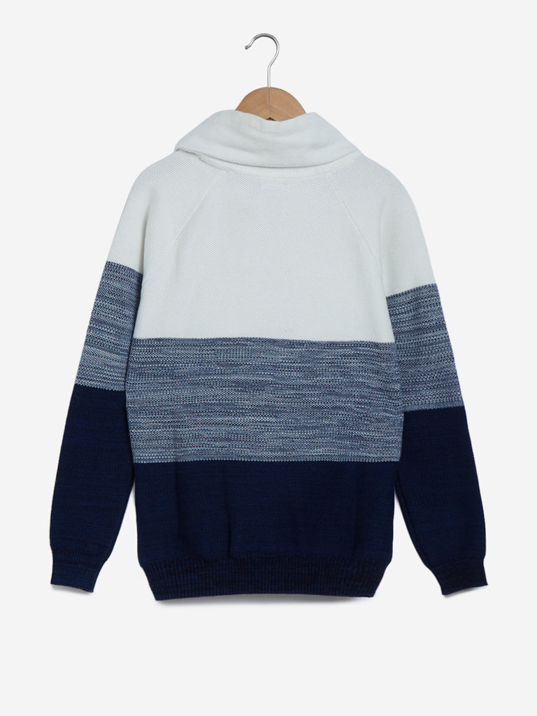 Y&F Kids Navy Colour-Blocked Sweater