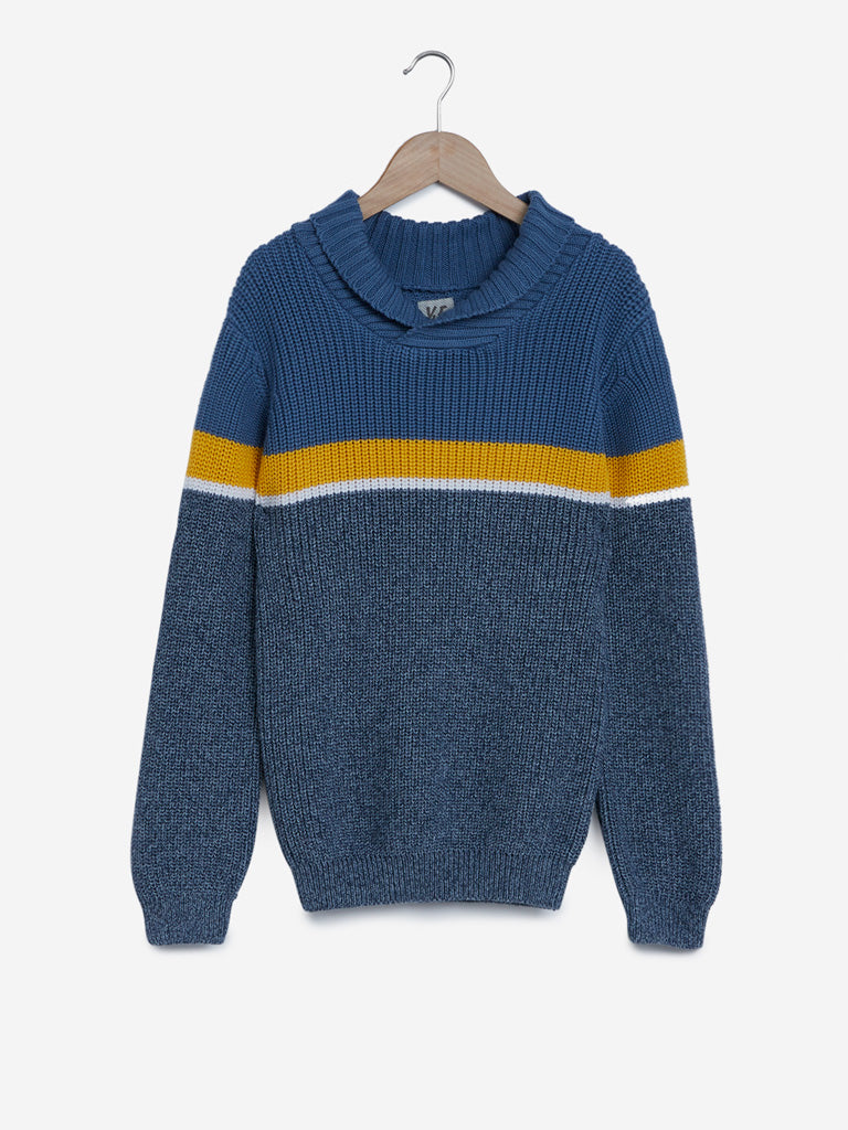 Y&F Kids Blue Knitted Colour Block Sweater