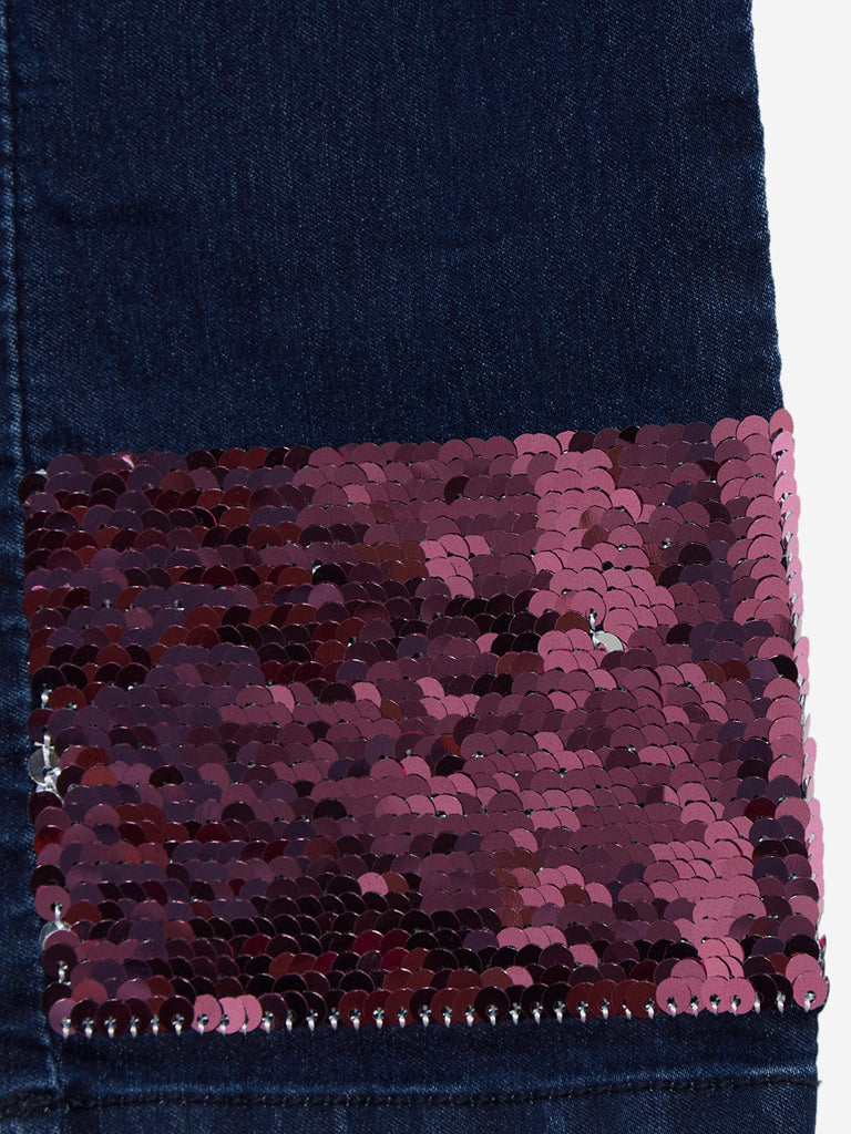 Y&F Kids Indigo Reversible Sequin Jeans