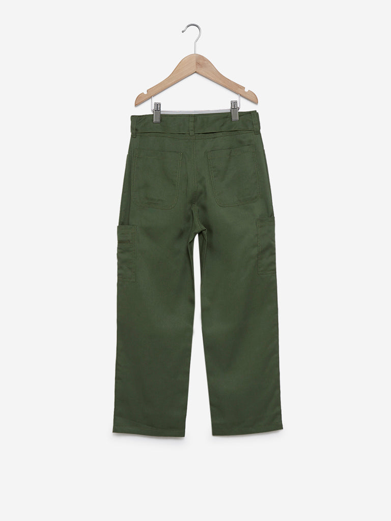 Y&F Kids Olive Flared Pants With Belt