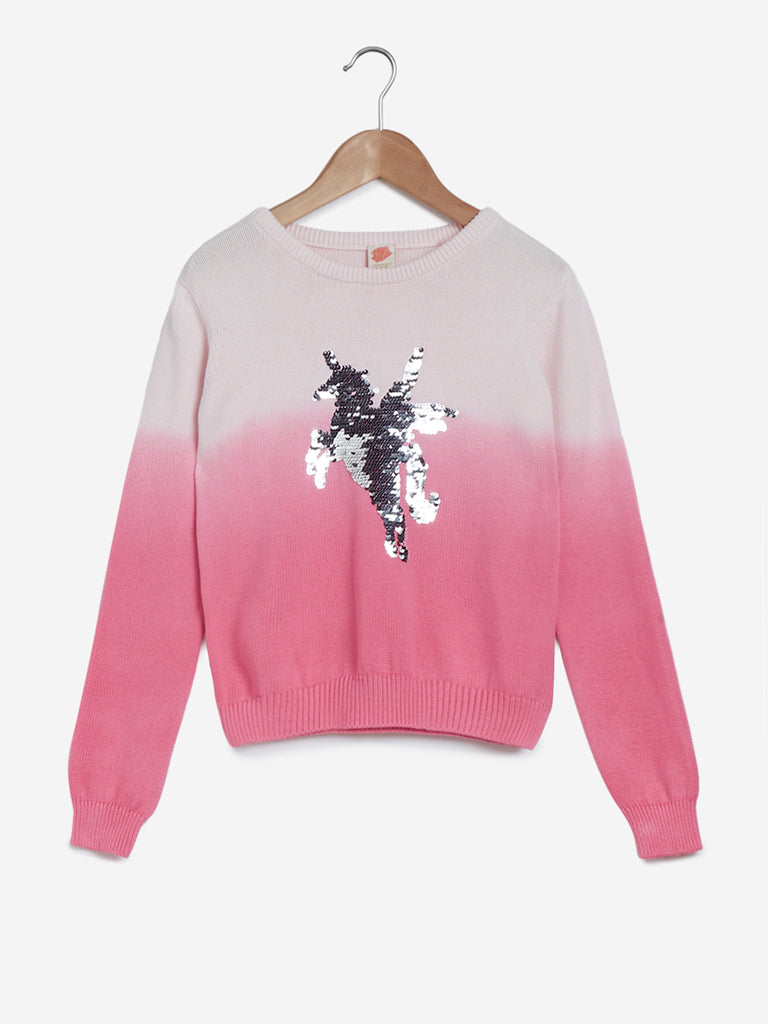 Y&F Kids Pink Unicorn Sequinned Sweater