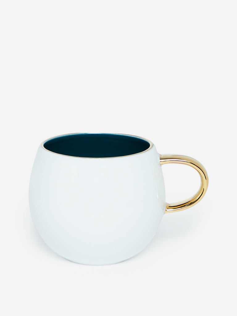 Westside Home White And Dark Green Round Tea Cup