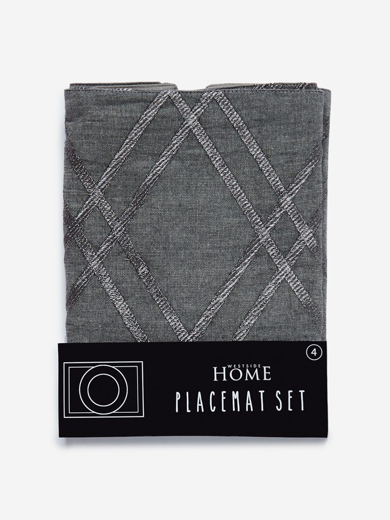 Westside Home Grey Diamond Print Placemats Set of Four