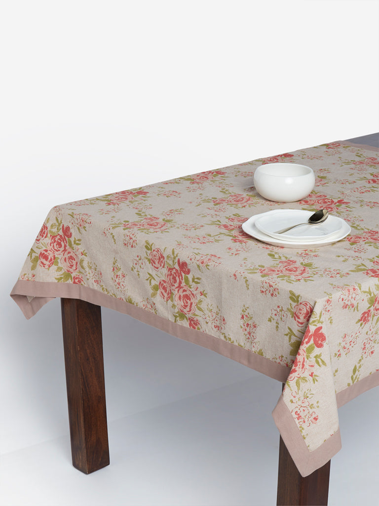 Westside Home Beige Floral Print Square Table Cloth