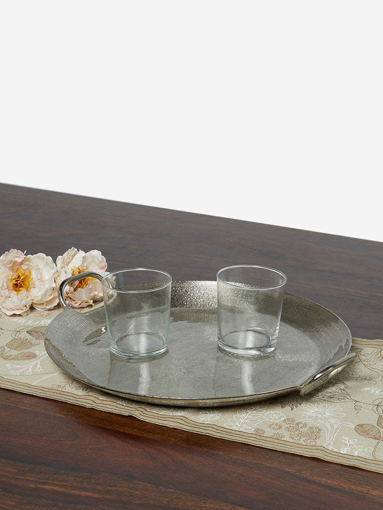 Westside Home Silver Textured Round Tray