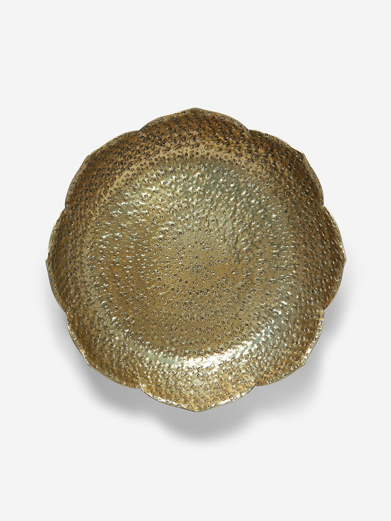 Westside Home Gold Textured Small Lotus Platter