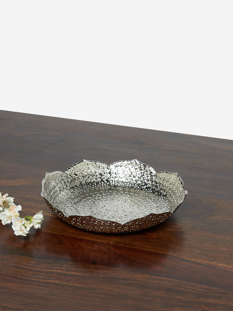 Westside Home Silver Textured Small Lotus Platter