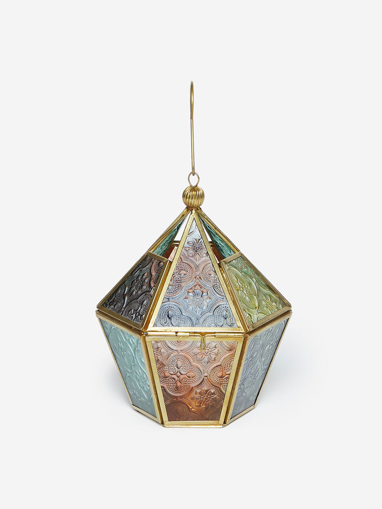 Westside Home Multicolour Hexagonal Lantern Candle Holder