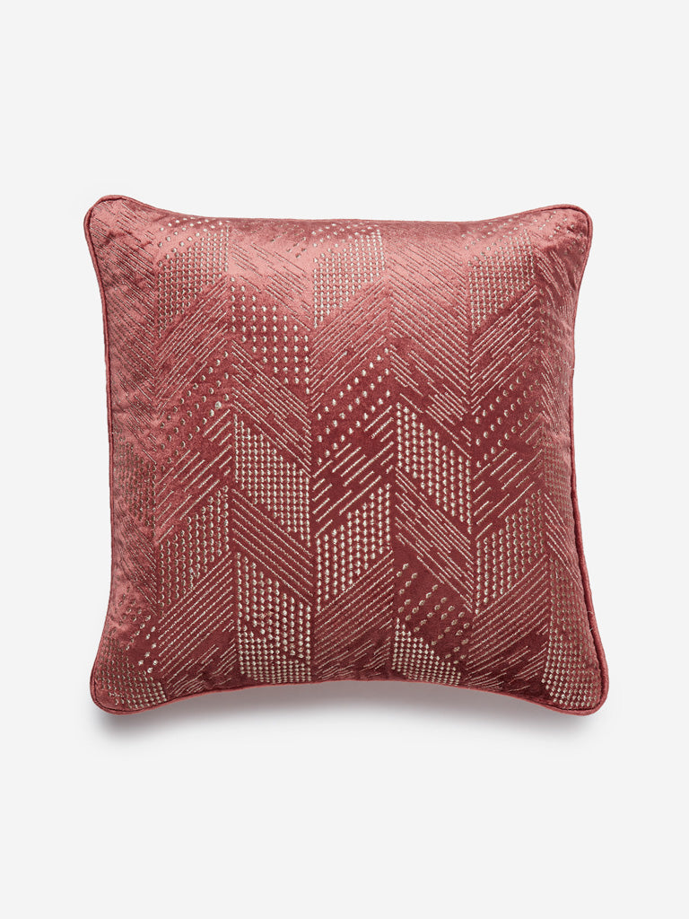 Westside Home Rust Chevron Embroidery Cushion Cover