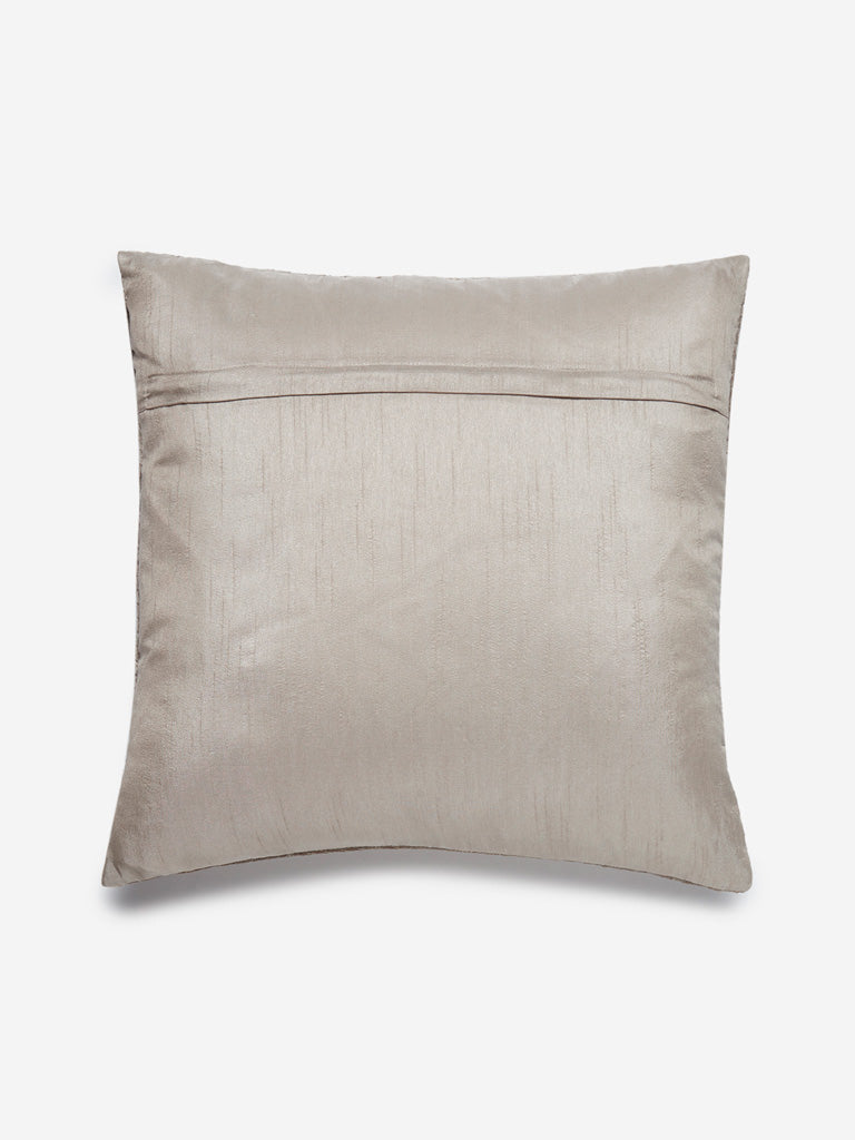 Westside Home Beige Chevron Print Velvet Cushion Cover
