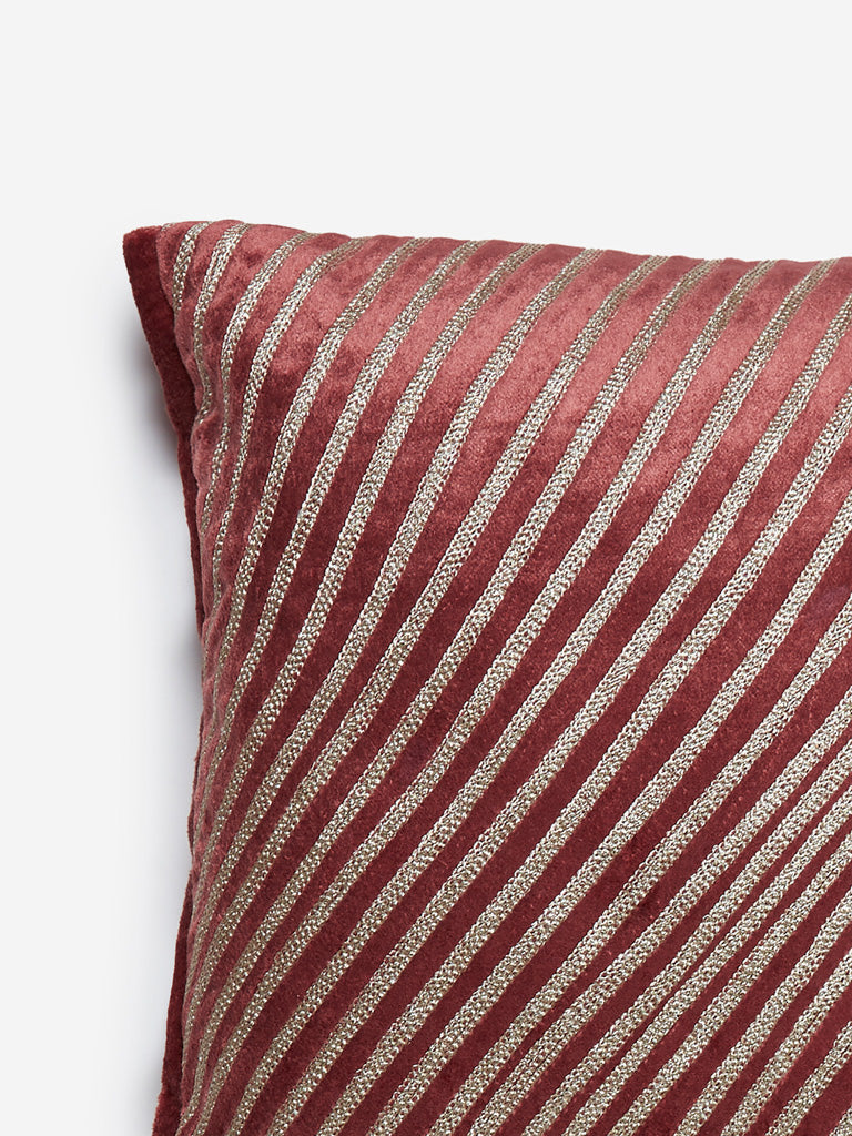 Westside Home Rust Stripe Patterned Cushion Cover
